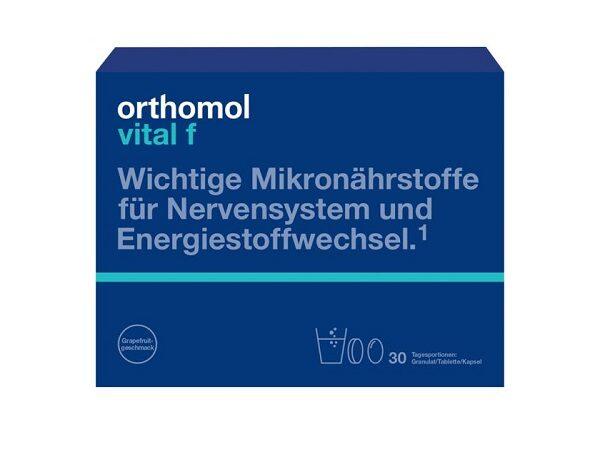 ORTHOMOL VITAL F pulveris, tabletes, kapsulas, 30 dienu devas